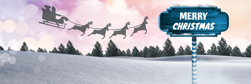 С Рождеством Христовым текст на деревянном указателе в reindee ландшафте зимы рождества и ` s Санты сани и иллюстрация вектора