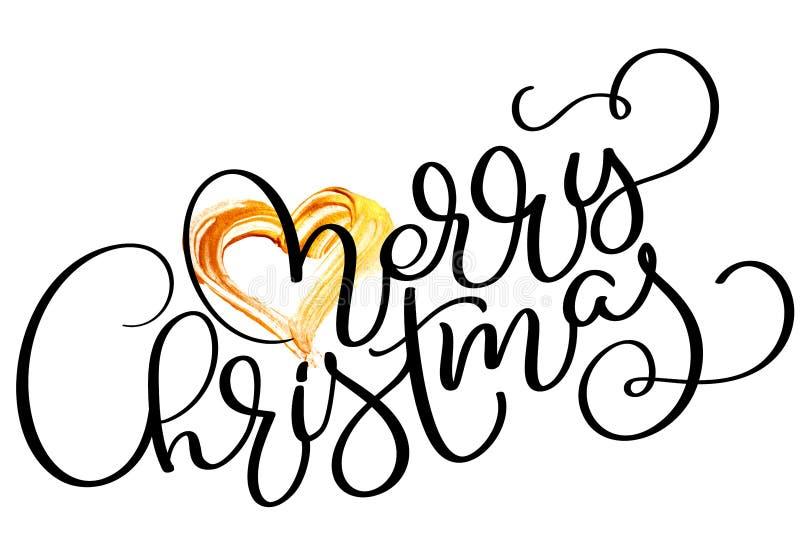 С Рождеством Христовым текст праздника с сердцем золота Иллюстрация нарисованная рукой каллиграфии литерности вектора EPS10 бесплатная иллюстрация