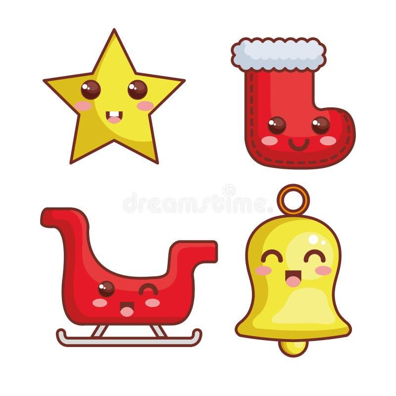 с Рождеством Христовым характеры kawaii иллюстрация вектора