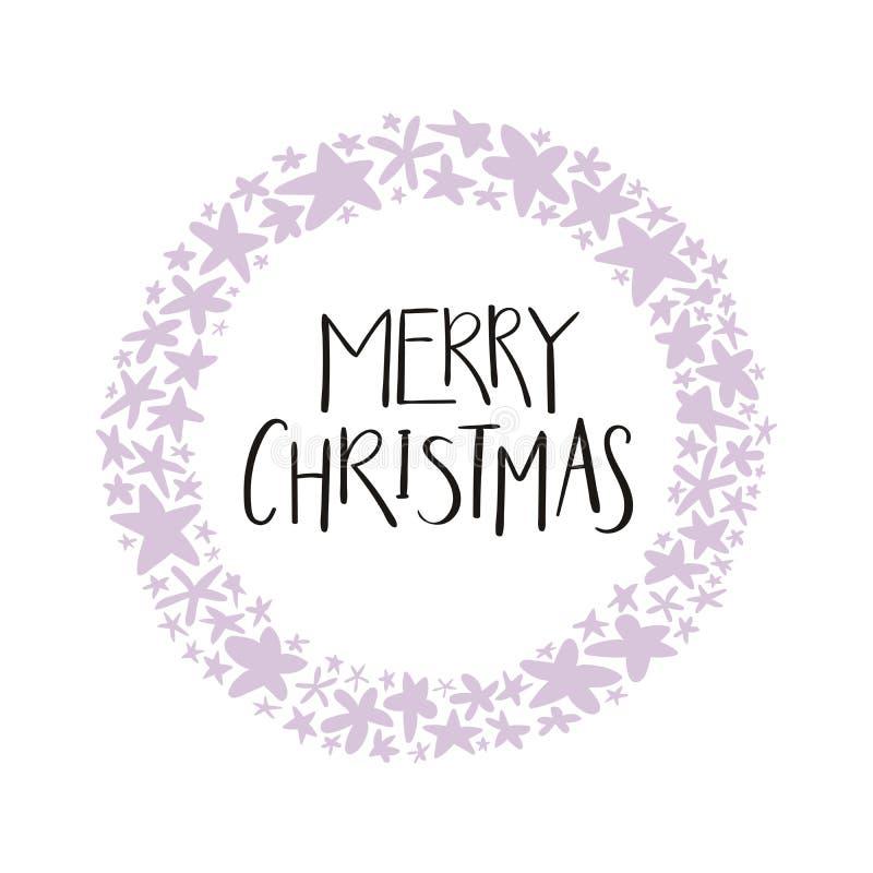 С Рождеством Христовым цитата в венке звезд иллюстрация вектора