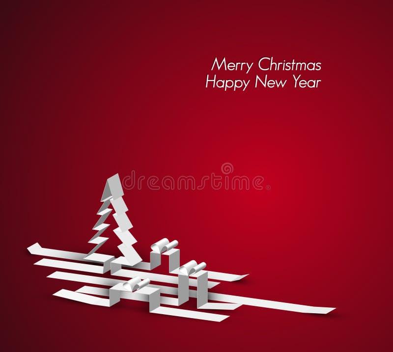 С Рождеством Христовым чешет сделано от бумажных нашивок иллюстрация штока