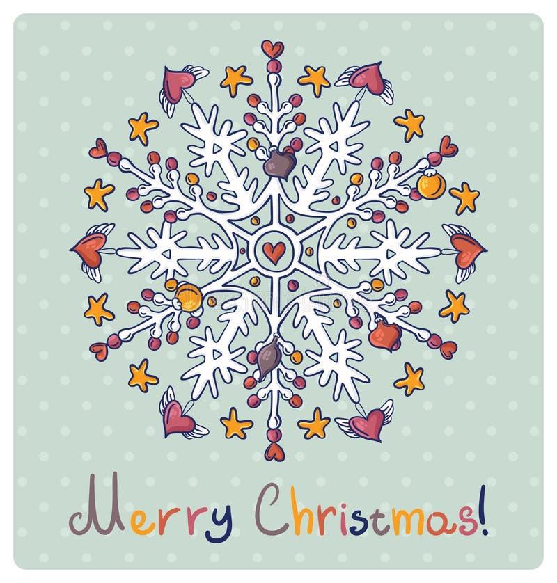 С Рождеством Христовым чешет с снежинками иллюстрация вектора