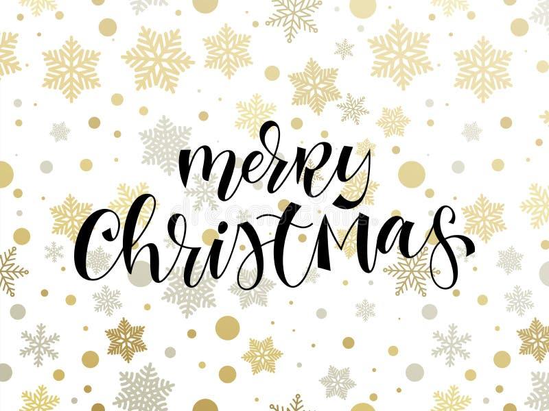 С Рождеством Христовым шаблон предпосылки картины снежинки праздника и нарисованная рукой каллиграфия закавычат текст для поздрав бесплатная иллюстрация