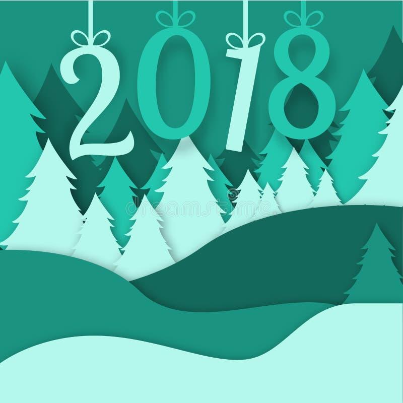 2018 с Рождеством Христовым xmas зимы леса origami вектора поздравительной открытки сделал сосну идти снег стиль ремесла бумажног иллюстрация штока