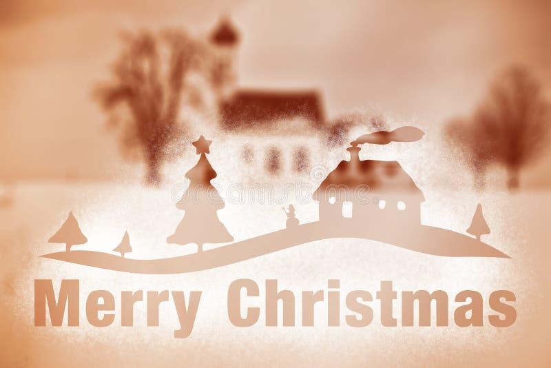 С Рождеством Христовым брызга снежка пейзажа зимы бесплатная иллюстрация