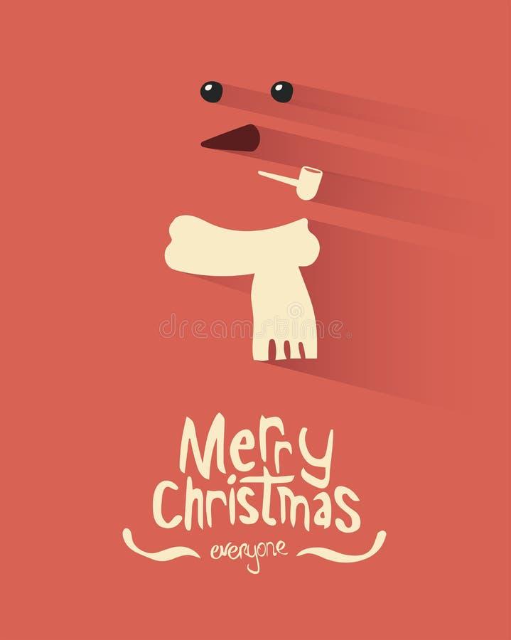 С Рождеством Христовым вектор с снеговиком иллюстрация вектора