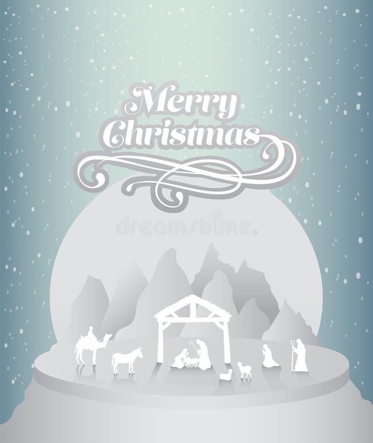 С Рождеством Христовым вектор с сценой рождества бесплатная иллюстрация