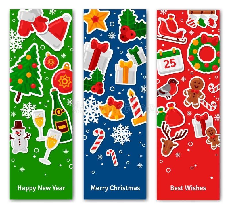 С Рождеством Христовым вертикальные знамена установленные с плоскими значками стикера бесплатная иллюстрация