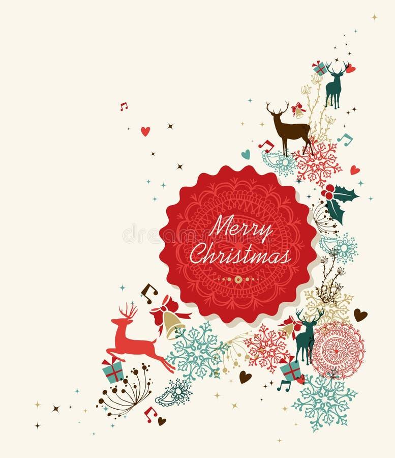 С Рождеством Христовым винтажная иллюстрация ярлыка круга бесплатная иллюстрация