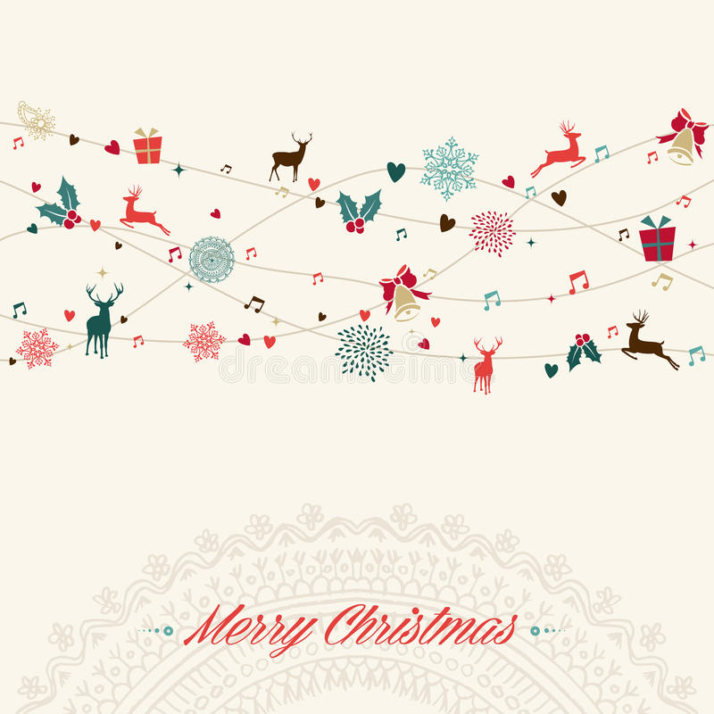 С Рождеством Христовым винтажная карточка гирлянды бесплатная иллюстрация