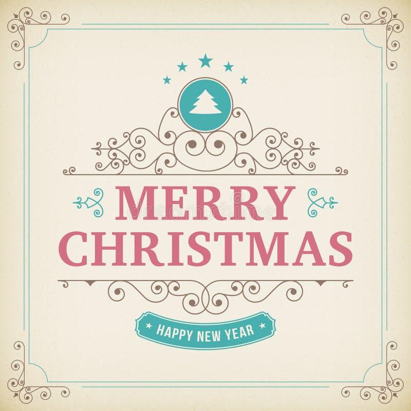 С Рождеством Христовым винтажный орнамент на бумажной предпосылке бесплатная иллюстрация