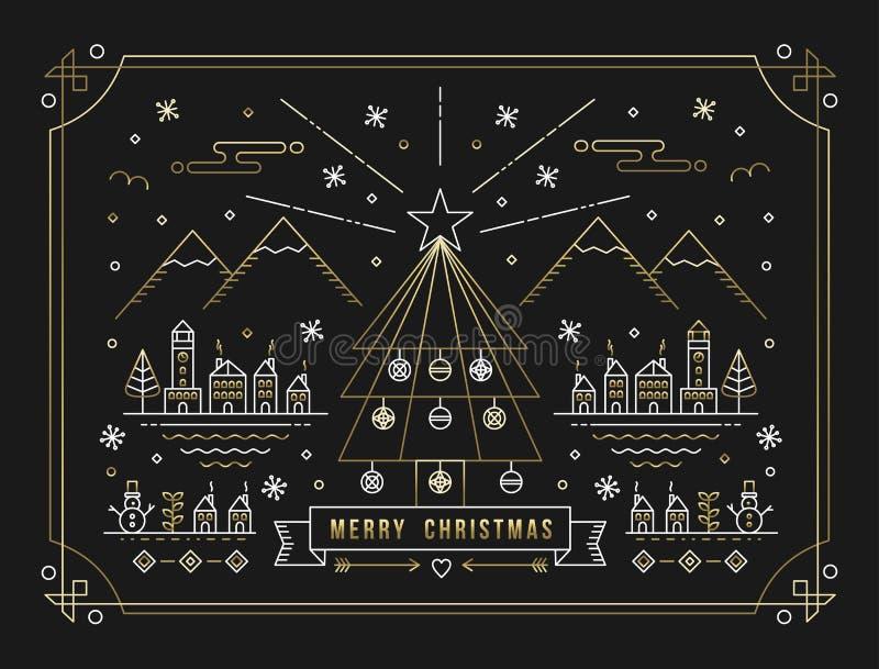 С Рождеством Христовым город украшения дерева плана золота бесплатная иллюстрация