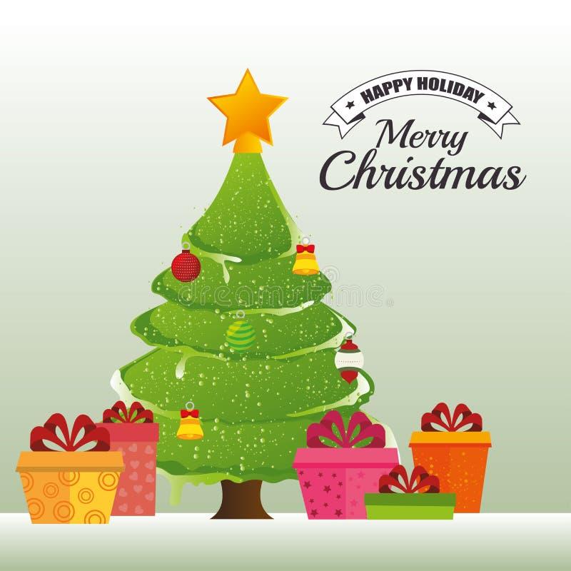 С Рождеством Христовым декоративные вещества и сосна иллюстрация вектора