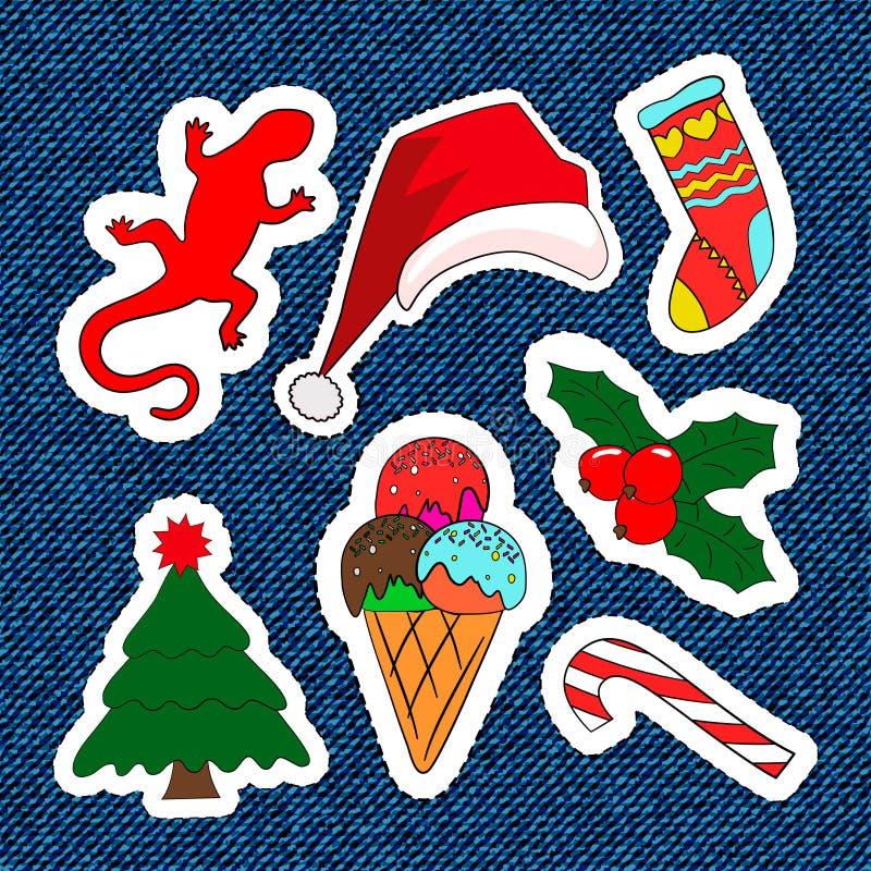 С Рождеством Христовым заплаты вышивки Конфета, Санта Клаус, дерево, конфета Комплект счастливых стикеров Нового Года, штырей, ма иллюстрация штока