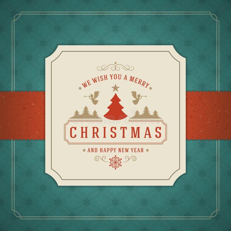 С Рождеством Христовым дизайн поздравительной открытки или плаката иллюстрация штока