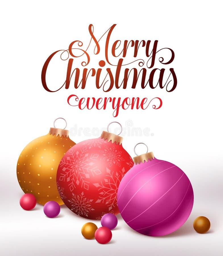 С Рождеством Христовым дизайн поздравительной открытки с красочными шариками рождества бесплатная иллюстрация