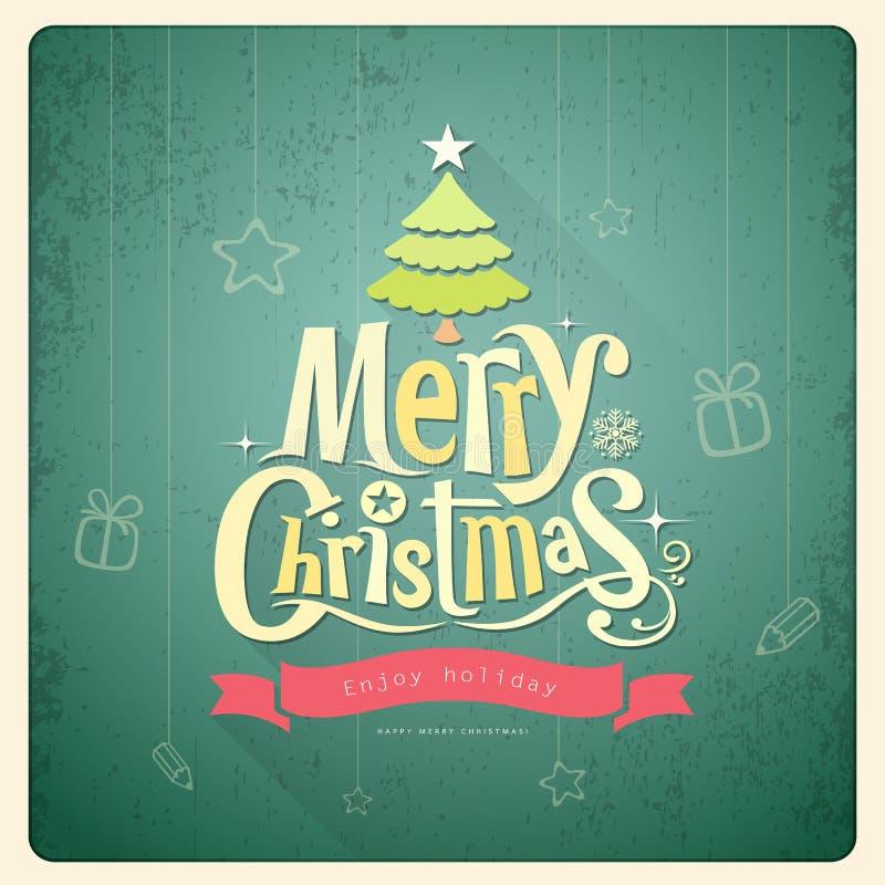 С Рождеством Христовым литерность, поздравительная открытка иллюстрация вектора