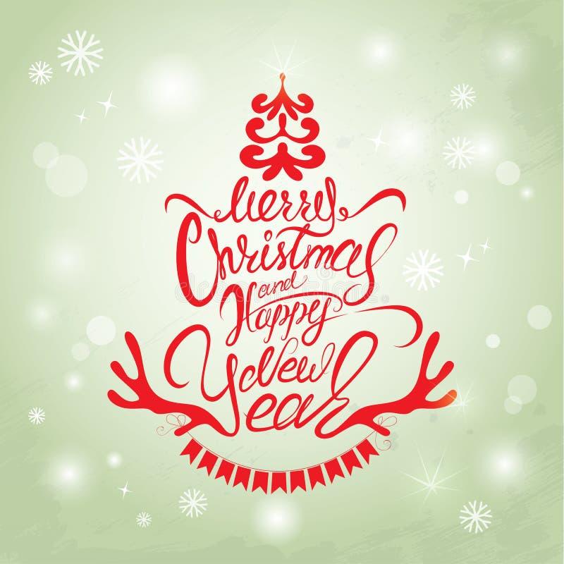 С Рождеством Христовым и счастливая карточка Нового Года, каллиграфия рукописная иллюстрация штока