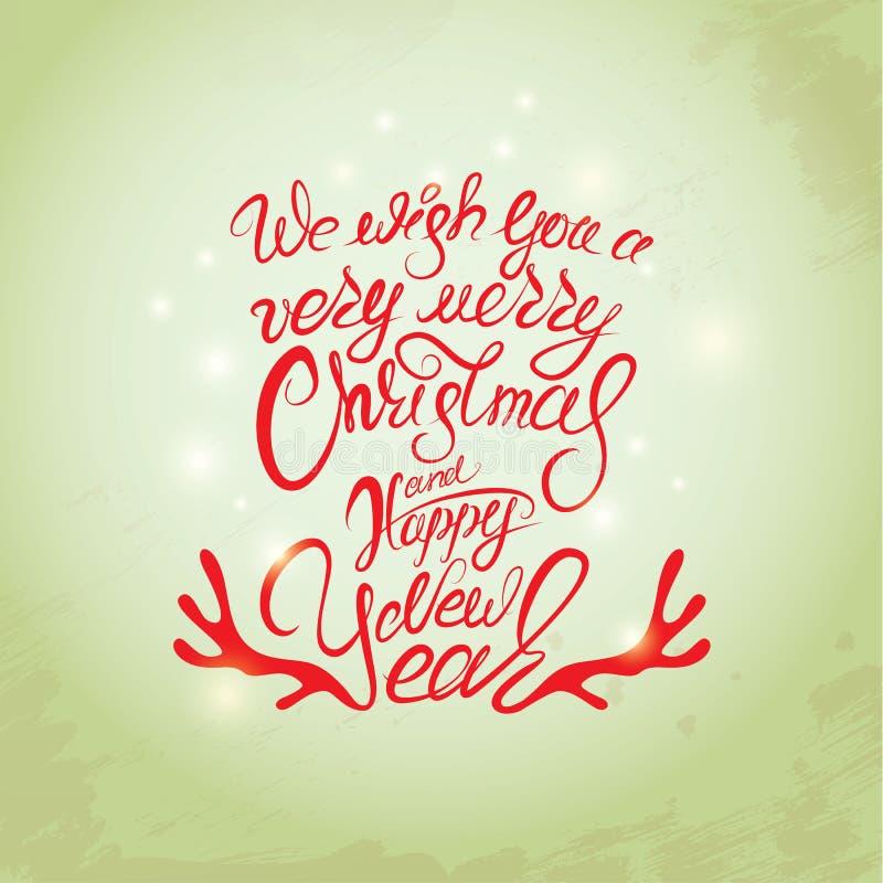 С Рождеством Христовым и счастливая карточка Нового Года, каллиграфия рукописная иллюстрация вектора