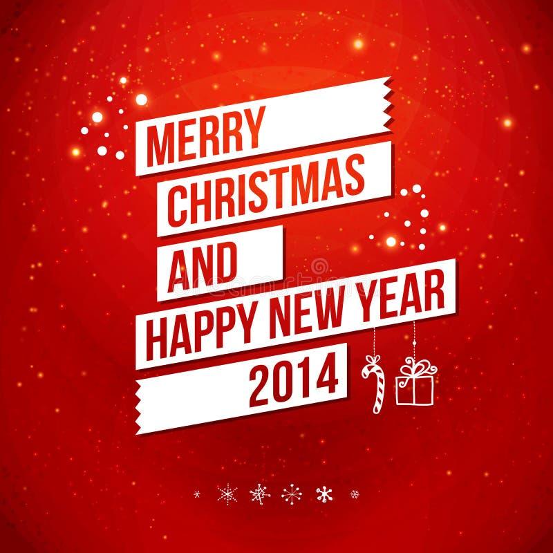 С Рождеством Христовым и счастливая карточка Нового Года 2014. иллюстрация вектора