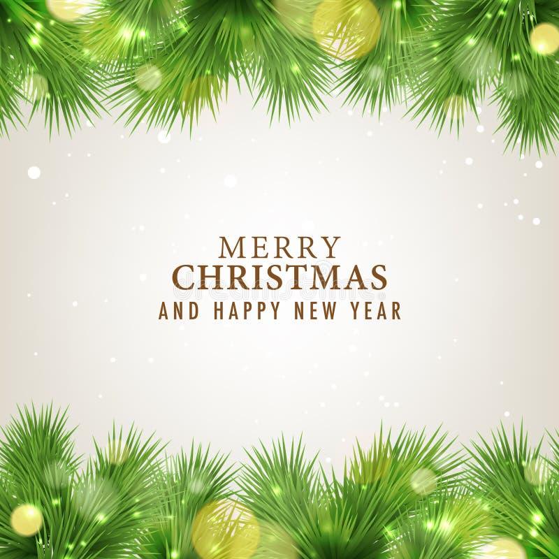 С Рождеством Христовым и счастливая карточка Нового Года иллюстрация штока