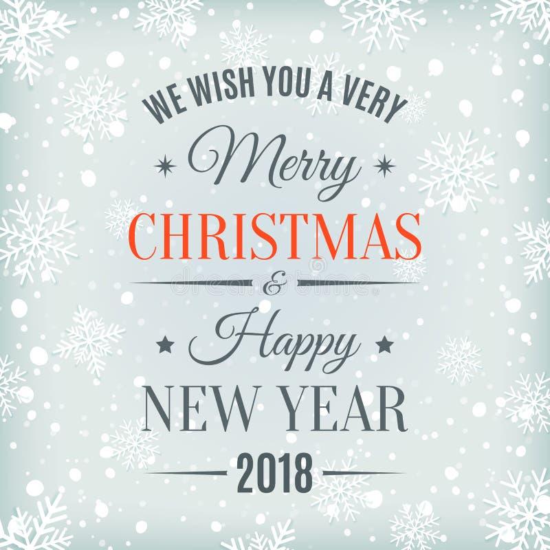 С Рождеством Христовым и счастливая карточка Нового Года 2018 бесплатная иллюстрация