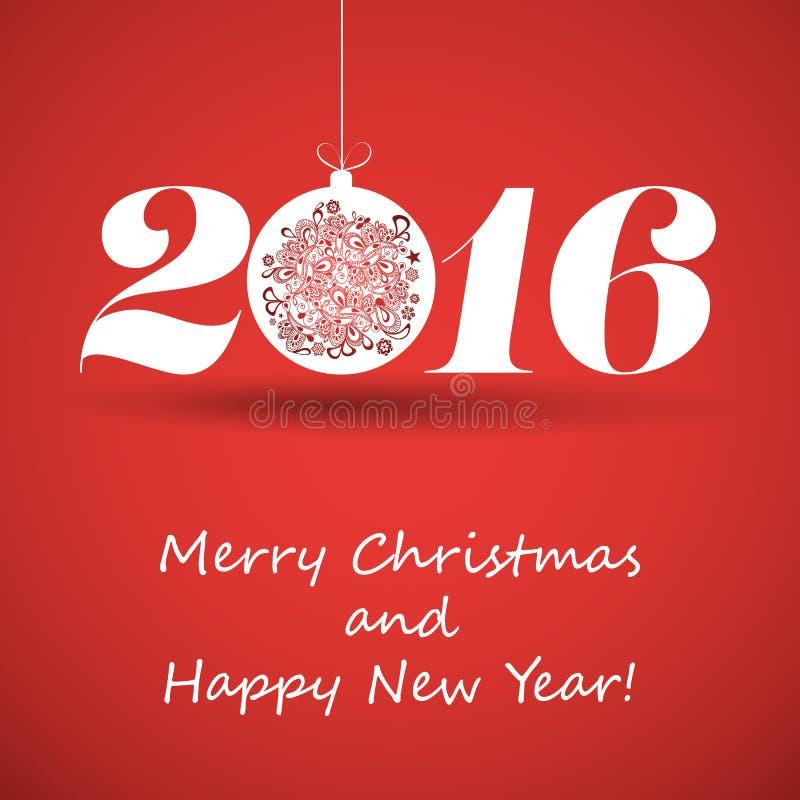 С Рождеством Христовым и счастливая поздравительная открытка Нового Года, творческий шаблон дизайна - 2016 иллюстрация вектора