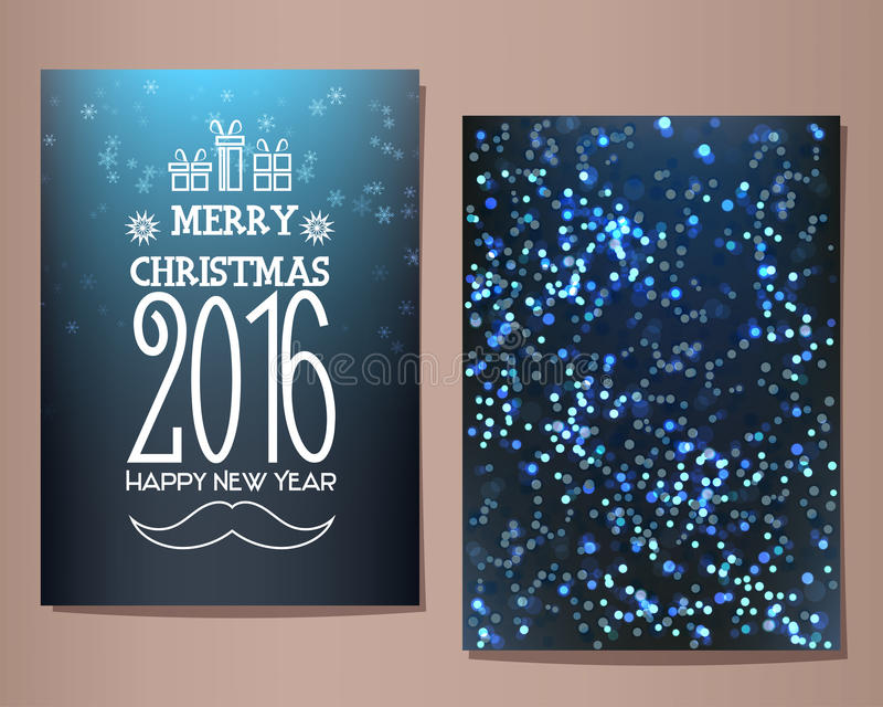 С Рождеством Христовым 2016 и счастливая поздравительная открытка Нового Года также вектор иллюстрации притяжки corel иллюстрация штока