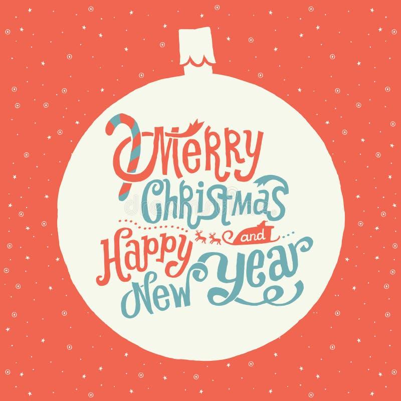 С Рождеством Христовым и счастливая поздравительная открытка Нового Года, оформление Handlettering иллюстрация вектора