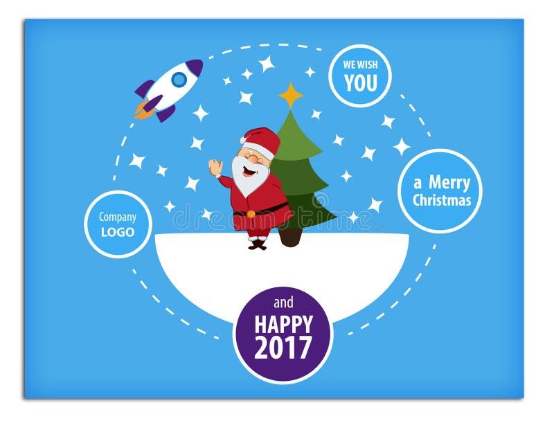 С Рождеством Христовым и счастливая поздравительная открытка 2016 Нового Года, в плоском стиле иллюстрация вектора