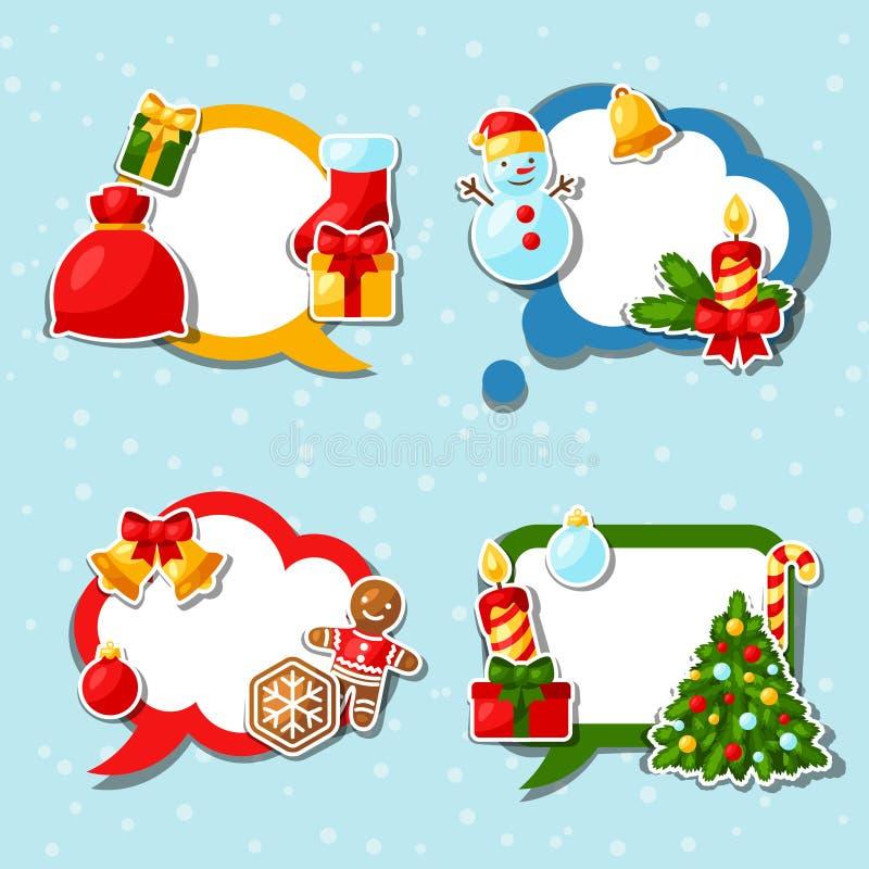 С Рождеством Христовым и счастливая речь стикера Нового Года бесплатная иллюстрация