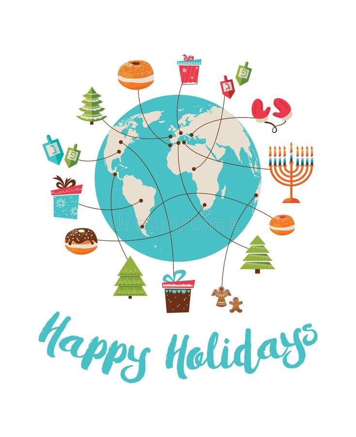 С Рождеством Христовым и счастливая Ханука глобальное торжество
