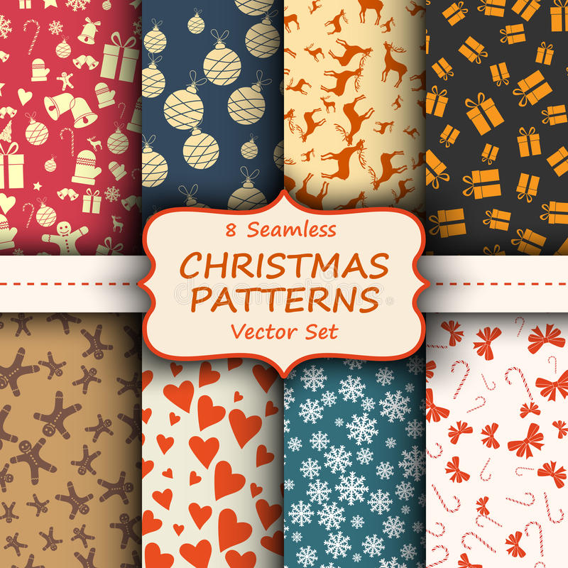 С Рождеством Христовым и счастливые безшовного винтажного Новые Годы комплекта обоев Различные собрания праздника с оленями, звез иллюстрация штока