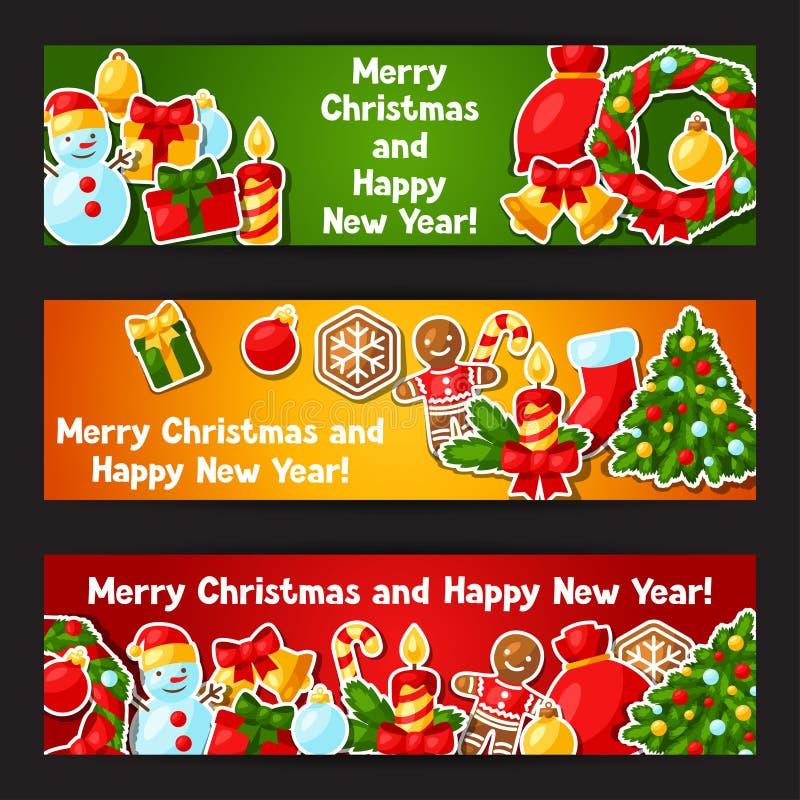 С Рождеством Христовым и счастливые знамена стикера Нового Года иллюстрация вектора