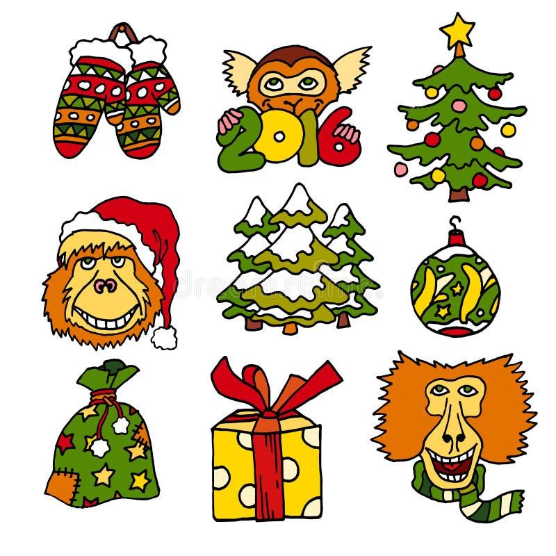 С Рождеством Христовым и счастливые новые значки vecot шаржа 2016 год с обезьянами и настоящими моментами иллюстрация штока
