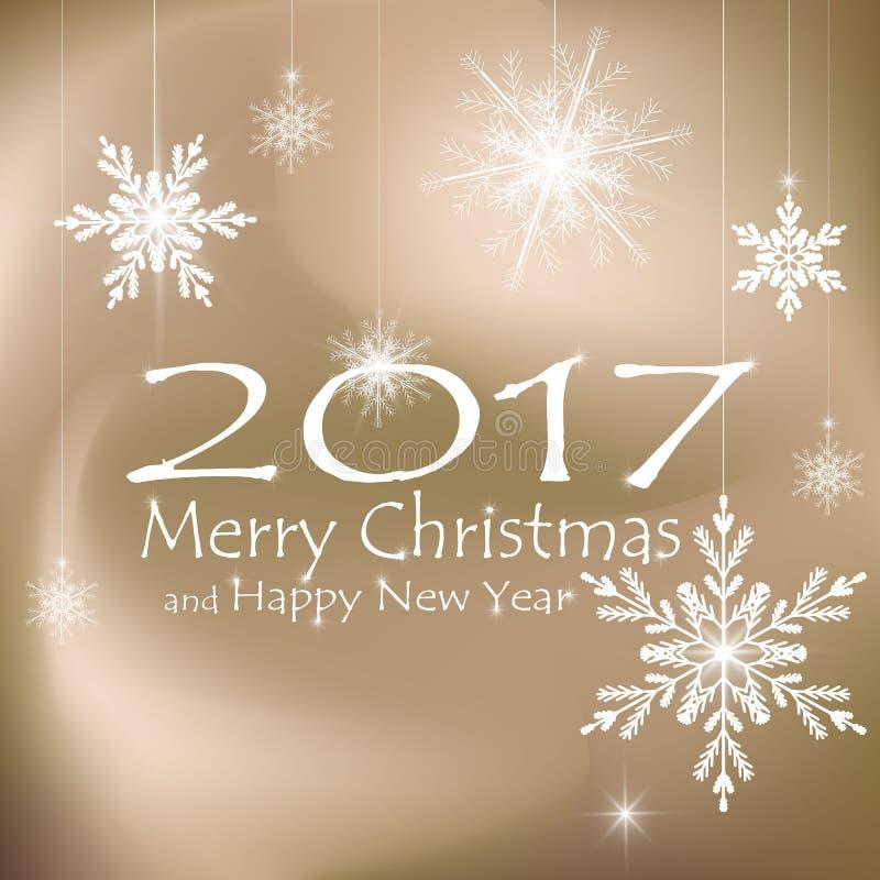 С Рождеством Христовым и счастливые украшения карточки Нового Года Бежевые предпосылки стоковые изображения