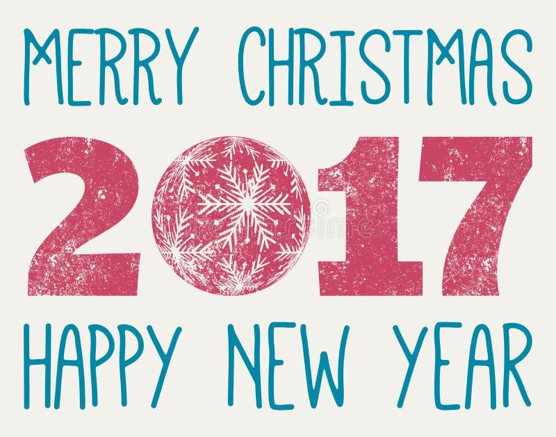 С Рождеством Христовым и счастливый вектор Нового Года 2017 иллюстрация вектора