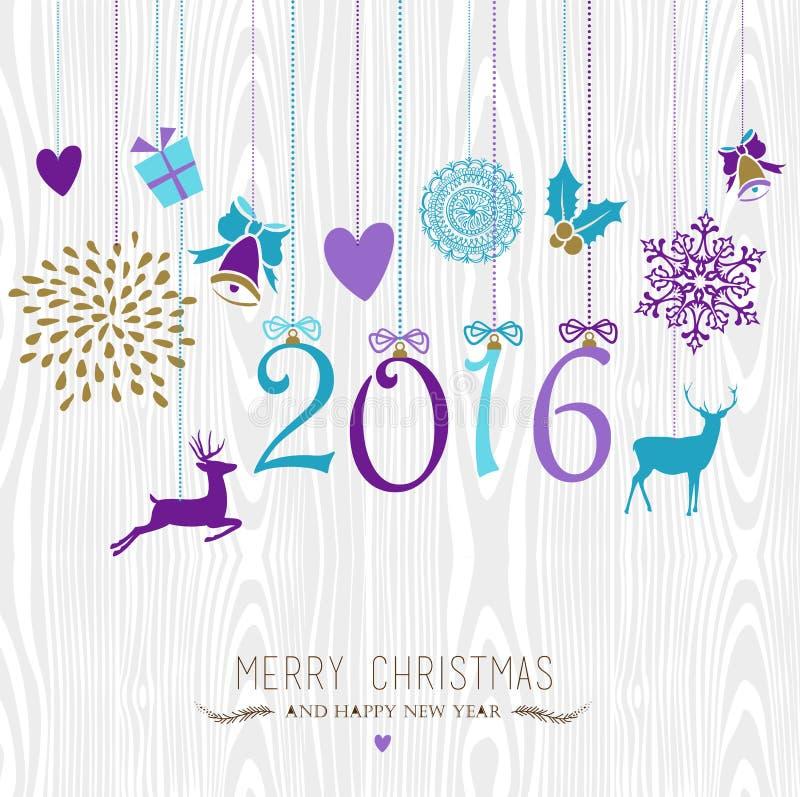 С Рождеством Христовым и счастливый вид ретро 2016 Нового Года иллюстрация штока
