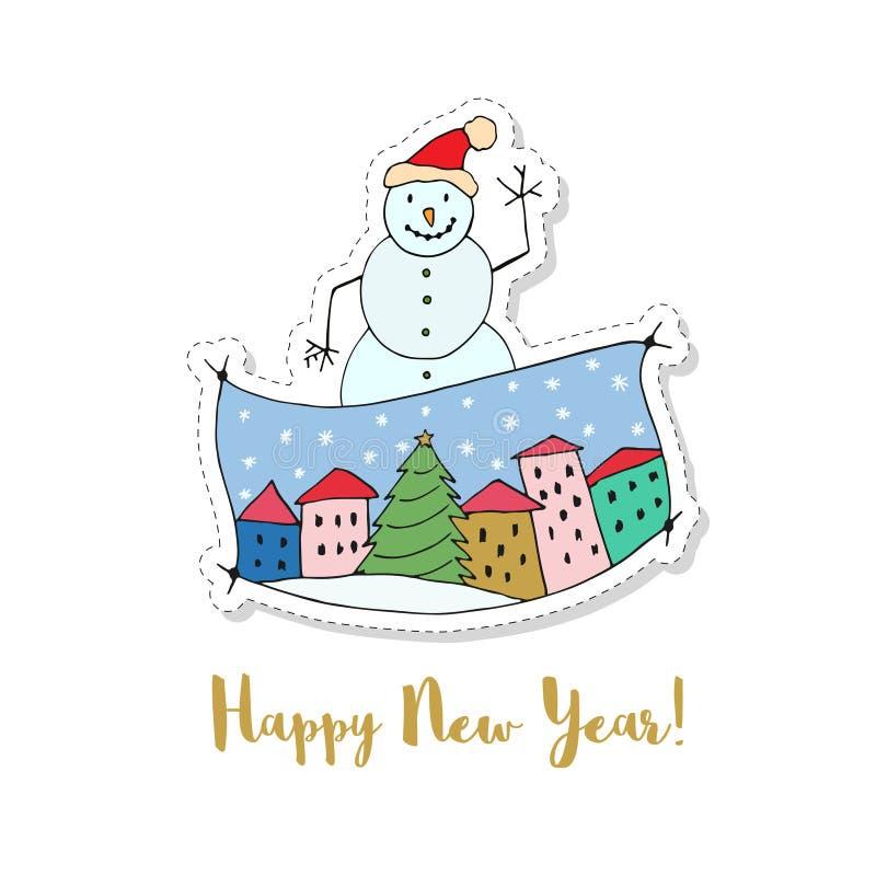 С Рождеством Христовым и счастливый карточка вектора шаржа Нового Года Стикер с смешным снеговиком иллюстрация штока