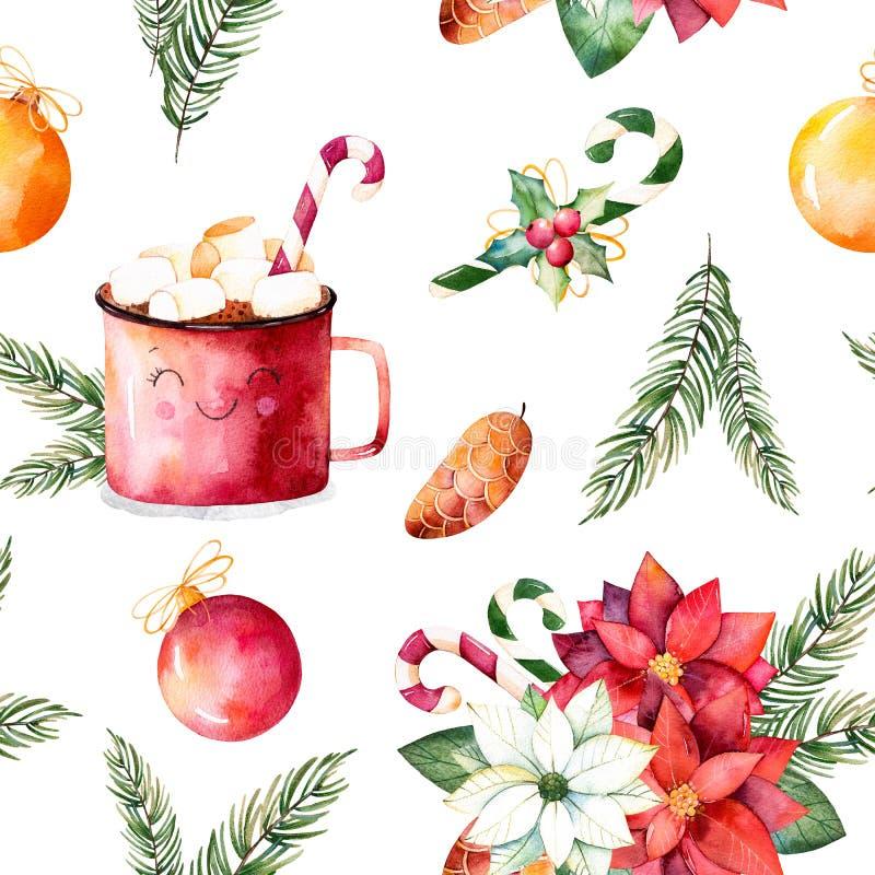 С Рождеством Христовым и счастливый комплект Нового Года иллюстрация вектора