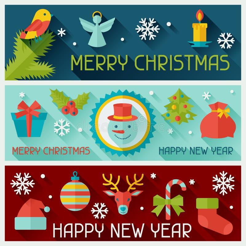 С Рождеством Христовым и счастливый Новый Год горизонтальный иллюстрация вектора