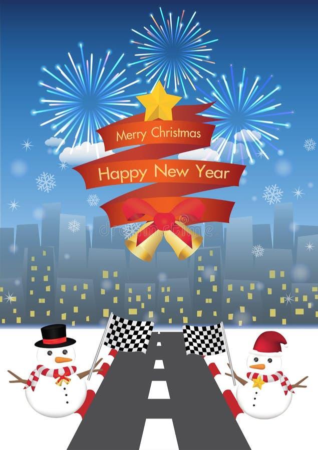 С Рождеством Христовым и счастливый Новый Год на красном ribbin и снеговик с дорогой к предпосылке города ночи бесплатная иллюстрация