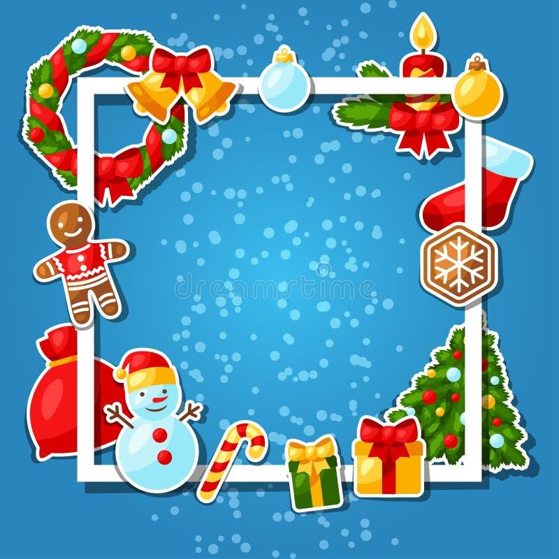 С Рождеством Христовым и счастливый стикер Нового Года иллюстрация штока