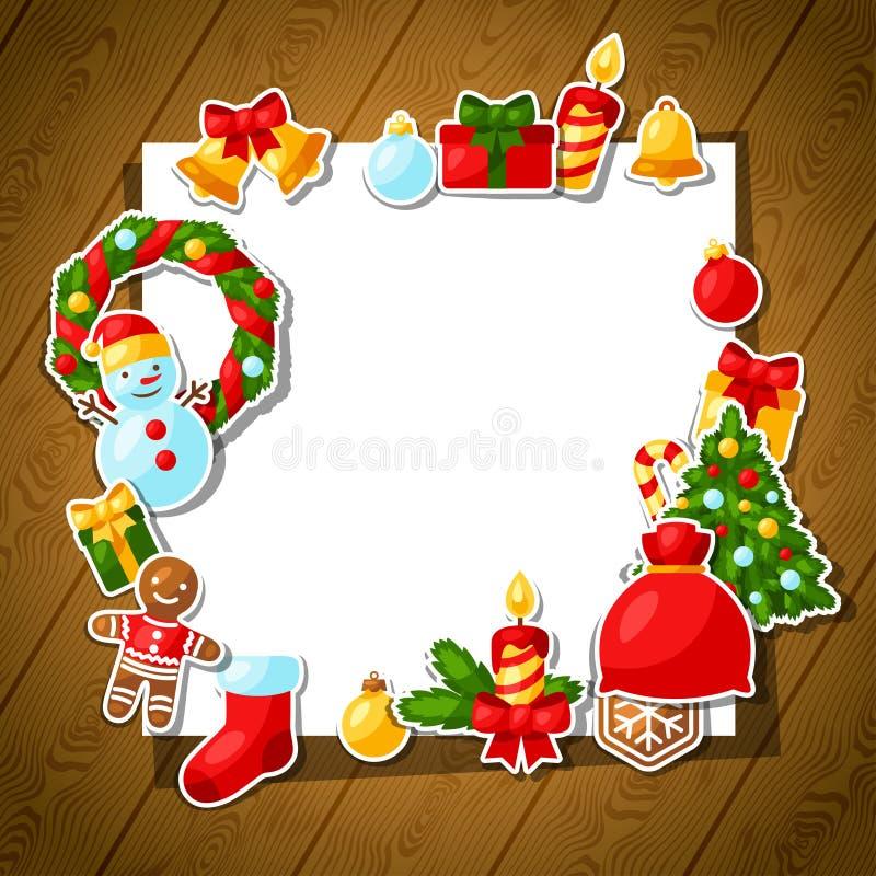 С Рождеством Христовым и счастливый стикер Нового Года бесплатная иллюстрация