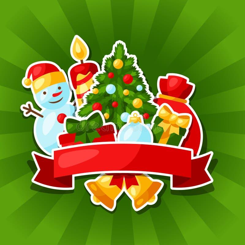 С Рождеством Христовым и счастливый стикер Нового Года иллюстрация вектора