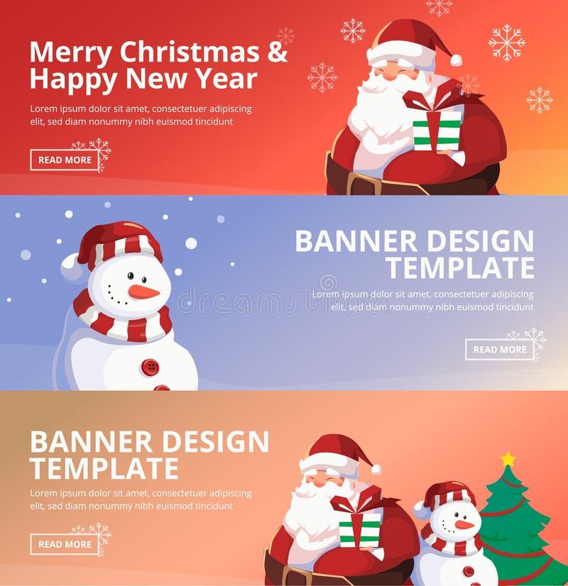С Рождеством Христовым и счастливый шаблон дизайна знамени сети Нового Года иллюстрация вектора