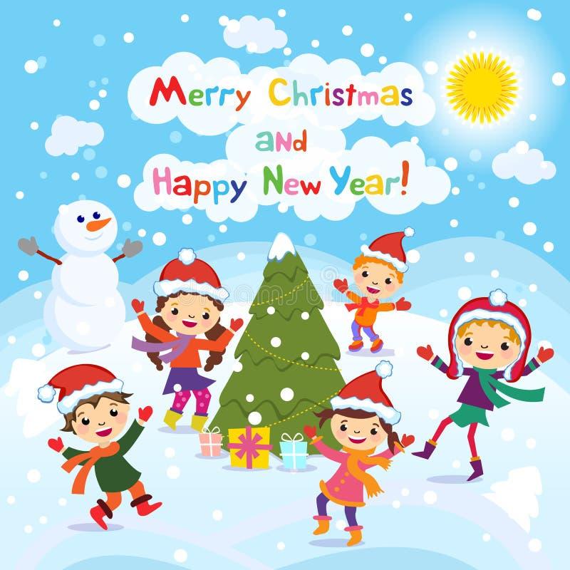 С Рождеством Христовым и с новым годом 2017 управлять зимой розвальней потехи Жизнерадостные дети играя в снеге Иллюстрация векто иллюстрация штока