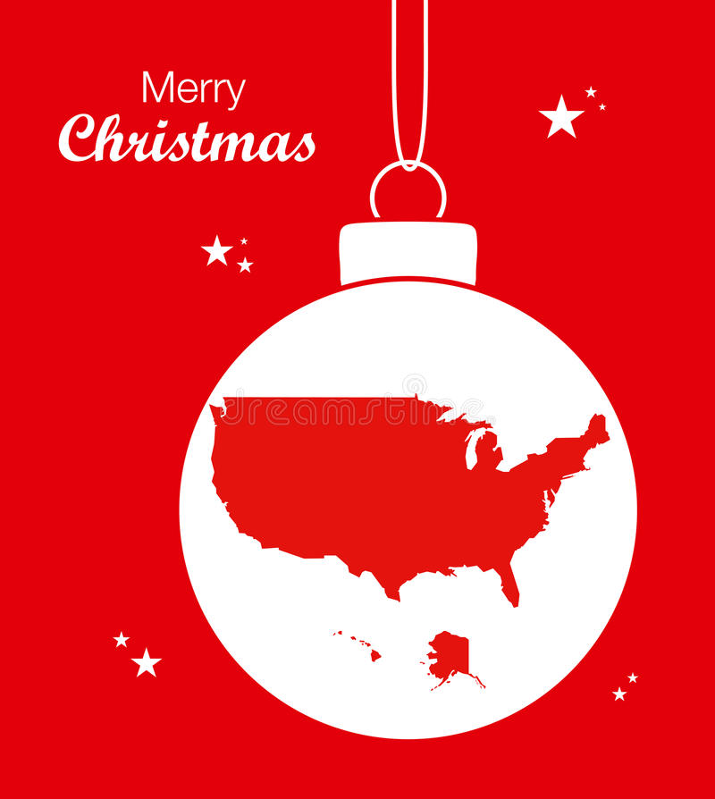 С Рождеством Христовым карта США иллюстрация штока