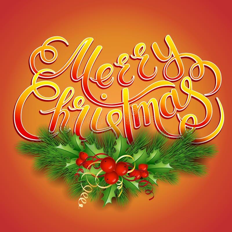 С Рождеством Христовым карточка литерности с падубом бесплатная иллюстрация