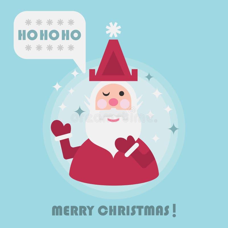 С Рождеством Христовым карточка праздника с милым Сантой и Ho Ho Ho значок пузыря речи иллюстрация штока